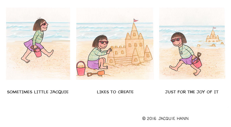Little Jacquie on Sandcastles by Jacquie Hann