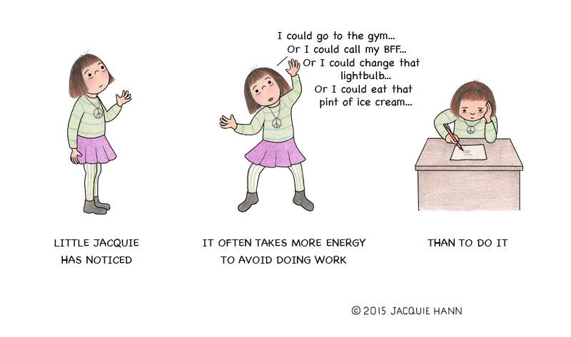 Little Jacquie on Procrastination by Jacquie Hann